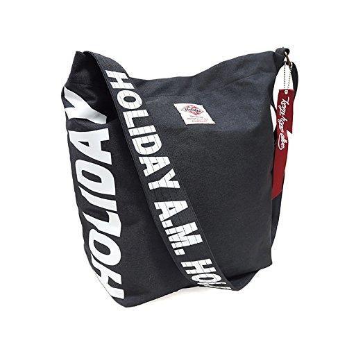 大きめ 斜めがけ ショルダーバッグ ブラック 黒色 ロゴ マーク プリント タグ ストラップ ユニセックス 男女兼用 かばん 鞄