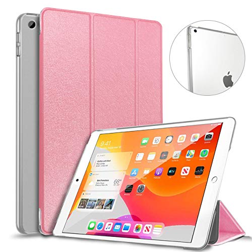 DAORANGE Case for New iPad 7th Generation 10.2 Inch 2019, Slim Lightweight Smart Shell Cover [Auto Wake/Sleep] with Hard Frosted Translucent Back Cover for Newest iPad 7th Gen 10.2'' 2019 (Pink)