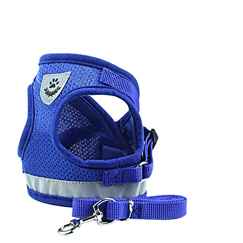 ZZBIQS Escape Proof Pet Harness with Reflective Strips, Universal Kitten and Puppy Harness and Leash for Walking, Breathable and Adjustable Pet Halters, Best Pet Supplies(Blue, M)