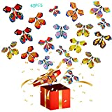 Scettar 40 PCS Magic Flying Butterfly Fairy Flying Toys Wind up Rubber Band Powered Butterfly Toys Decoration for Colorful Bookmark and Greeting Card Surprise Gift