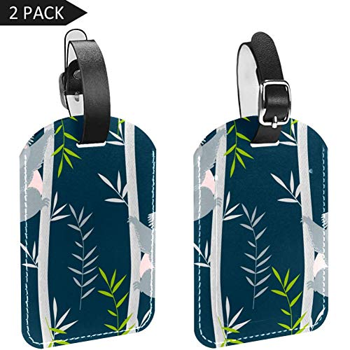 Luggage Tags Koalas On Trees Leather Travel Suitcase Labels 2 Packs