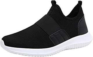 Men Solid Casual Sneakers - Fashion Flat Slip On Sport Shoes Lightweight Mesh Running Shoe No Lace Up Sneakers