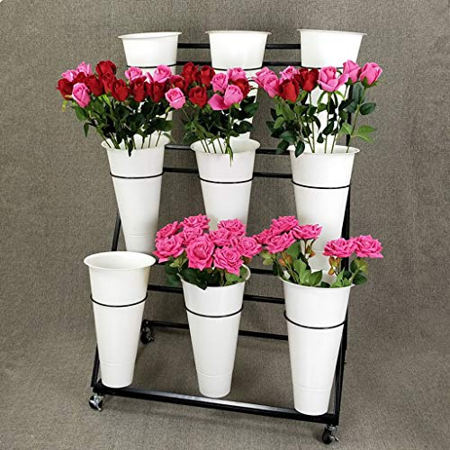 Flower Stand PHTW Weißer großer Blumenladen, mehrschichtiger Blumenständer, modischer schwarzer Blumenladen, Regal, Schmiedeeiserne Blumenregale, Blumenregale, Blumenfass, 100x50x110cm