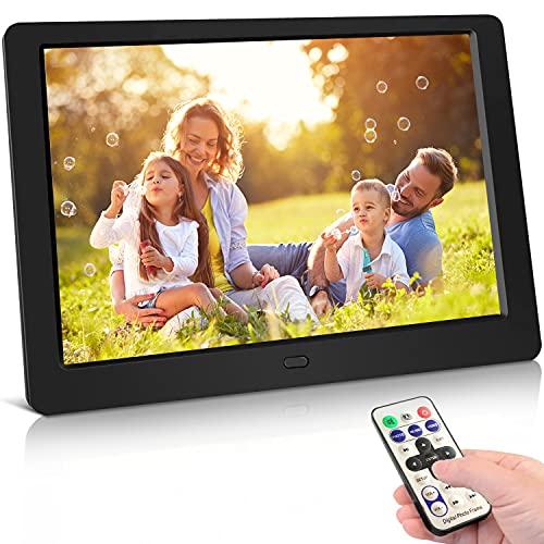 Digitaler Bilderrahmen 10 Zoll Hochauflösend (1024x 600) Video/Foto/Musik-Player, Digitaluhr, Kalender, Wecker, Elektronischer Fotorahmen mit Fernbedienung, unterstützt USB-und SD-Karte, Schwarz