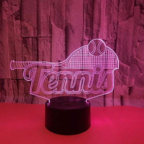 WULDOP Luz Nocturna Led Tenis deportes raqueta de tenis Para Niños Lámpara De Escritorio De Mesa Con Interruptor Táctil Control Remoto 7 Colores Para Regalos Festival De Cumpleaños Lámpara De Decorac