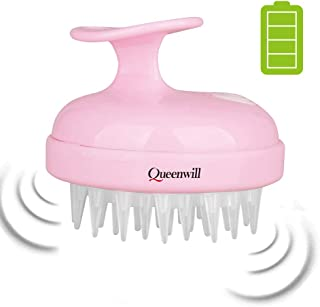 Electric Scalp Massager for Hair Growth, Queenwill Head Massager Shampoo Brush for Deep Hair Cleaning and Head Blood Circulation, Battery Powered & Waterproof - Pink, Gift for Your Family and Friend