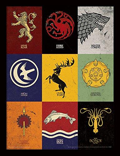Game of Thrones, Stampa incorniciata con i sigilli delle Casate, 30 x 40 cm