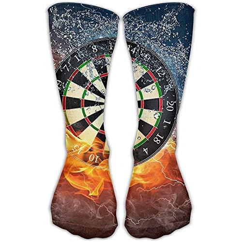 ulxjll Calf Sock Dartscheibe Ziel Eis Feuer Neuheit Geschenk Damen Fitness Kniehohe Socke Warme Personalisierte Strümpfe Winter Cool 50Cm