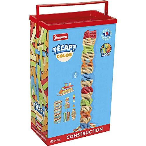 Jeujura - 8335- Jeux de Construction-Tecap Baril de Planchettes Color - 300 Pieces