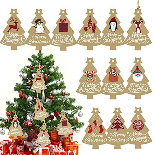 AIWEILIYA 120PCS Tag Regalo di Natale, Etichette Kraft Etichetta Regalo Etichette Carta con Corda per Decorazione Presente Dell'albero di Natale
