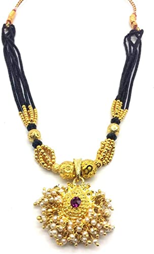 Traditional Thushi 12 inch Length Gold Plated Pink Stone Pendant with Black Moti Beads 6 Line Layer Adjustable Kolhapuri Mangalsutra for Girls