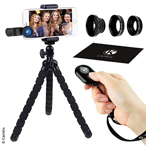 Juego de Fotografia Telefono Inteligente - Tripode Flexible para Telefono Celular, Bluetooth Control Remoto Obturador de Camara y Juego de Lentes 3en1 - Pulpo - Ojo de Pez, Macro y Gran Angular