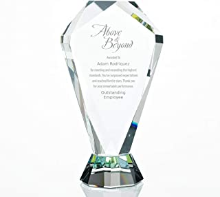 Baudville Engraved Trophy - Clear Glass - Prism Shaped - Award for Employees - Personalized Engraving Up to Three Lines and Pre-Written Verse Selection - Comes in Gift Box