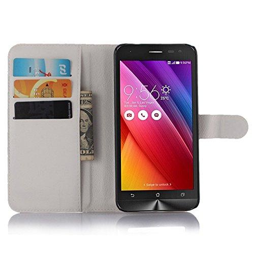 Tasche für Asus ZenFone 2 Laser ZE500KL (5zoll) Hülle, Ycloud PU Ledertasche Flip Cover Wallet Hülle Handyhülle mit Stand Function Credit Card Slots Bookstyle Purse Design weiß