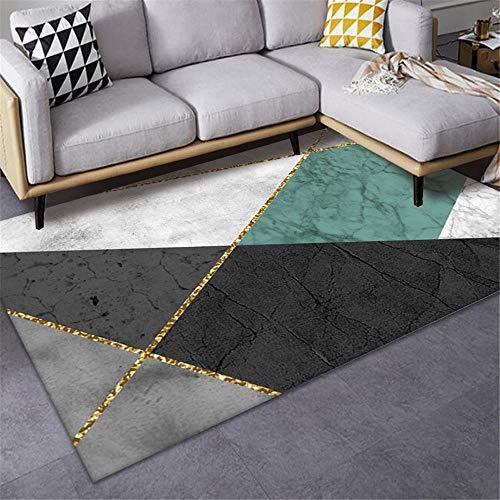 Jiaosa Small Rugs For Bedrooms grey Carpet Salon Blue Grey Geometric Pattern Anti-slip Carpet Durable Big Carpets For Living Room 80X120CM Living Room Rugs Extra Large 2ft 7.5''X3ft 11.2''