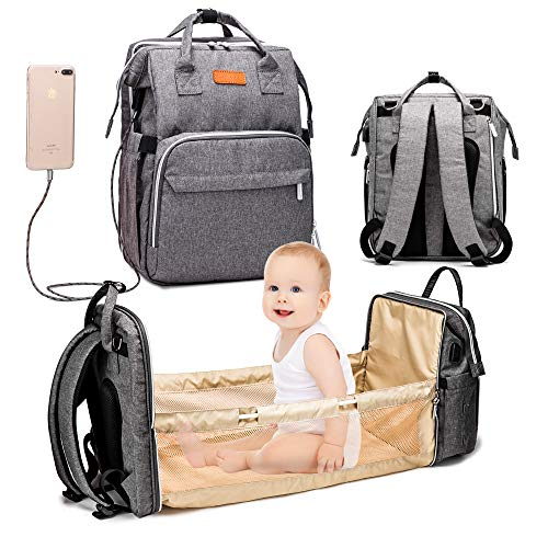 XDW-GIFTS 3 in 1 Travel Foldable Baby Bed Diaper Bag,Diaper Backpack Changing Station,Built-in USB Charging Port and Stroller Straps
