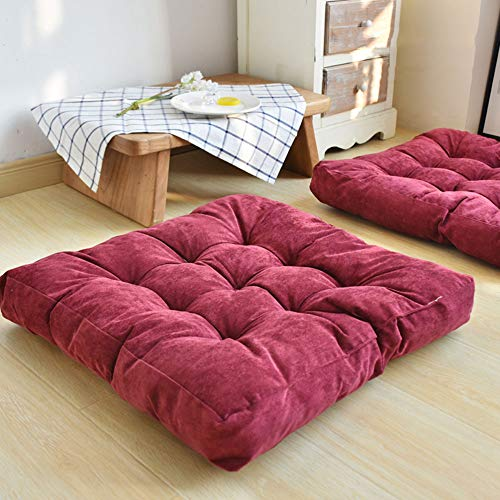 HXSKI Floor Pillow,Square Corduroy Meditation Pillow,Soft Thicken Yoga Pillow For Women And Men Tatami Window Reading Chair Cushion-The wine is red 55x55cm(22x22inch)