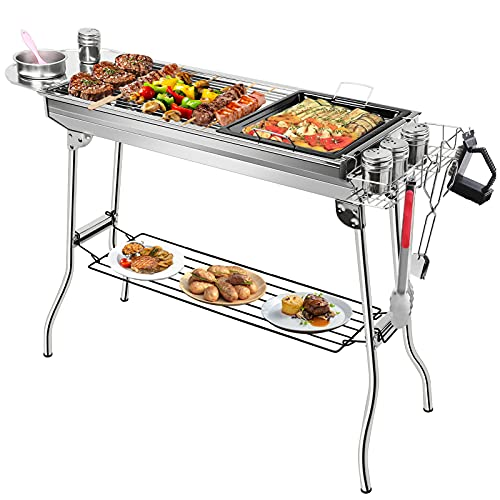 JooMoo Portable Charcoal Grills Large - Foldable Outdoor Barbecue Grill + 12 Accessories, Stainless Steel Yakitori Grill for Camping Patio Backyard Picnic BBQ Party
