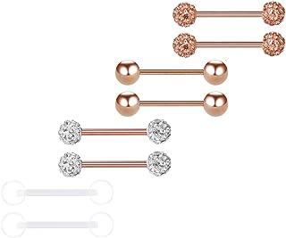 Tongue Rings 14G Surgical Steel Nipple Rings Tongue Nipplerings Piercing for Men Women 4-6 Pairs 16/19mm