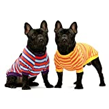 Fitwarm 2-Pack 100% Cotton Striped Dog Shirt for Pet Clothes Puppy T-Shirts Cat Tee Breathable Strechy Orange Yellow Blue Purple XXL