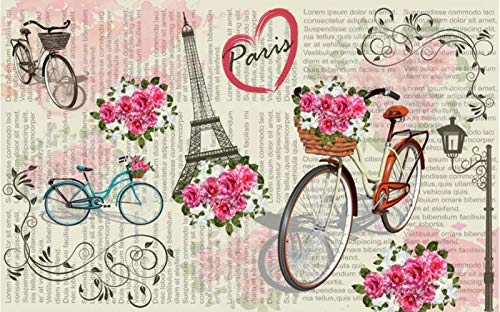 BHXINGMU Sfondi 3D Murales Personalizzati Nordic Parigi Biciclette Fiori Murales Per Camera Da Letto Adesivi Per Carta Da Parati 270Cm(H)×370Cm(W)