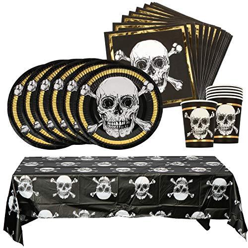 com-four® 25-teiliges Partygeschirr Set - Teller, Becher, Servietten, Tischdecke - für Piratenparty, Kindergeburtstag & Halloween (Partygeschirr - 25-teilig - 6 Gäste)