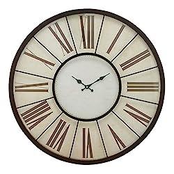 Benzara Metal Wall Clock 27 D, Black, White
