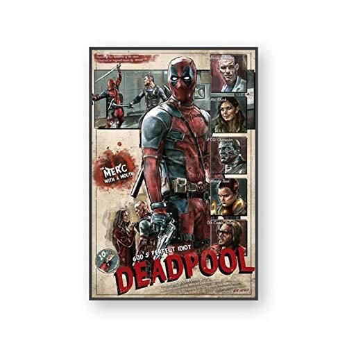 manyaxiaopu Klassische Marvel Movie Art Leinwand Poster Captain America Hulk Thanos Wandbilder wasserdichte Gemälde Wanddekoration Rahmenloses Gemälde A28 50X70Cm