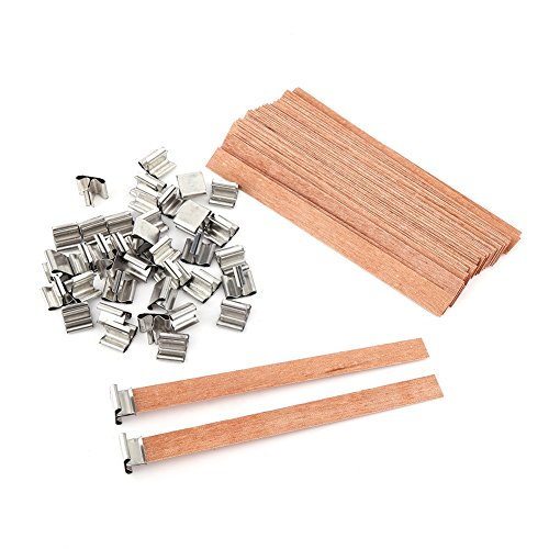 Natürliche Kerze Dochte, 40 Stück/Lot Holz Kerze Docht Wachs, Wood Candle Works Core Sustainers Handmade DIY Craft Making(8×90mm)