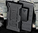 Cocomii Robot Armor Sony Xperia M4 Aqua Hülle NEU [Strapazierfähig] Gürtelclip Ständer Stoßfest Gehäuse [Militärisch Verteidiger] Ganzkörper Case Schutzhülle for Sony Xperia M4 Aqua (R.Black)