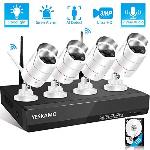 Wireless Security Camera System 3MP Ultra-HD [Floodlight & 2 Way Audio & Siren Alarm], YESKAMO Outdoor Spotlight WiFi IP Cameras AI Human Detection, 8CH Home Video Surveillance System with Hard Drive DVR Kits Surveillance