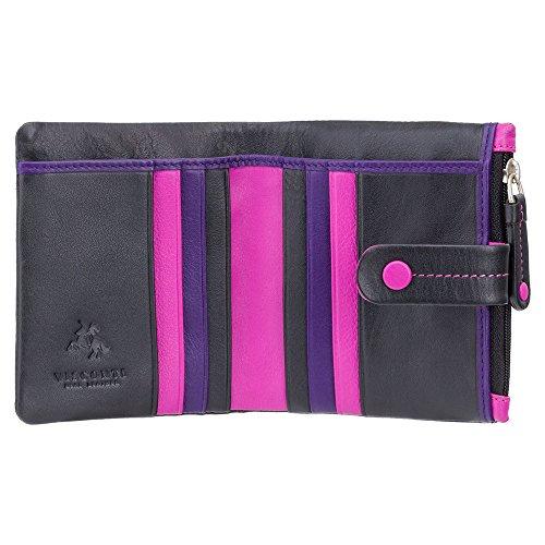 Visconti Twofold Leder Damen Portemonnaie Mimi Multicolor Purse (M77): (schwarz (black))