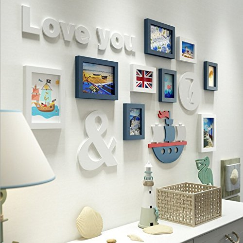 HJKY Photo Frame Wall Set Creative Living Room Wall Decoration Sticker Couples Price Background 3D Self-Adhesive Bedroom Wall Mounted White Blue + Alpha-Trim