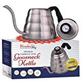 Pour Over Coffee Kettle with THERMOMETER for Precise Temperature 40floz - Gooseneck Tea Kettle...