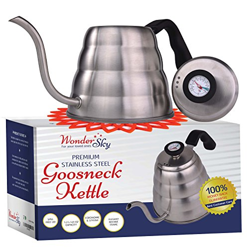 Pour Over Coffee Kettle with THERMOMETER for Precise Temperature 40floz - Gooseneck Tea Kettle - 5 Cup Stainless Steel Teapot for Stovetop - FREE Silicone Hot Tea Kettles Coaster - Black 1.2L