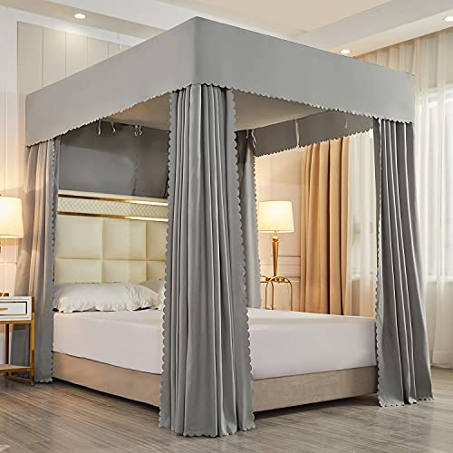 Solid Four Corner Post Bed Canopy Bed Curtain Mosquito Net for Boys Kids Adults (Queen, Gray)