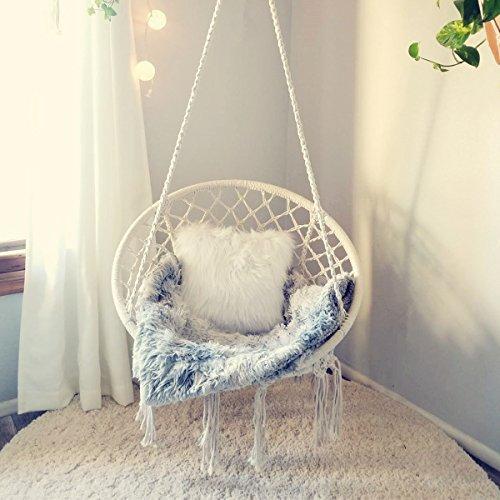 CCTRO Hammock Chair Macrame Swing,Boho Style Rattan Chair Hanging Macrame Hammock Swing Chairs for Indoor/Outdoor Home Patio Porch Yard Garden Deck,265 Pound Capacity (C White)