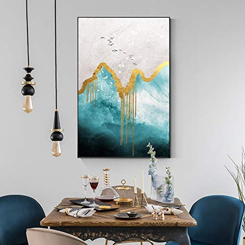 Handaxian Tiffany painting green gold poster print abstract gold ring art decoration living room picture salon decoration 70x110cm frameless
