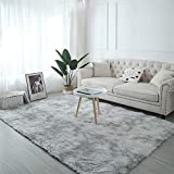 AMCER Teppich Wohnzimmer 160x250cm, Ayshaggy Teppich, Preiswert Anti Rutsch, Für Wohnzimmer, Esszimmer. Gästezimmer - Grau