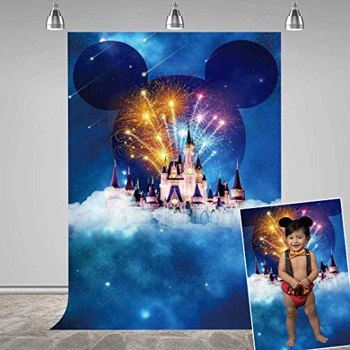 MEETS 5x7ft Disneyland Backdrop White Building Mickey Mouse avatar Photography Background Themed Party Photo Booth YouTube Backdrop GEMT491