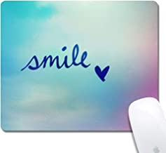 Mouse Pad with Stitched Edges,Smile Heart Customized Design Extended Gaming Mouse Pad Anti-Slip Rubber Base Ergonomic Mouse Pad for Computer -Black Rectangle