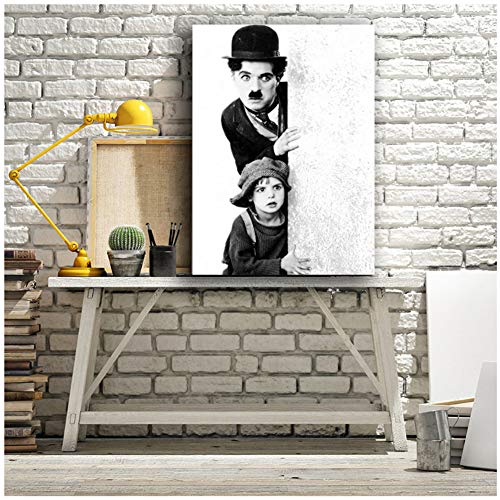 Póster de la película Charles Chaplin en blanco y negro con marco de madera estirado para decoración de pintura, 60 x 80 cm, sin marco