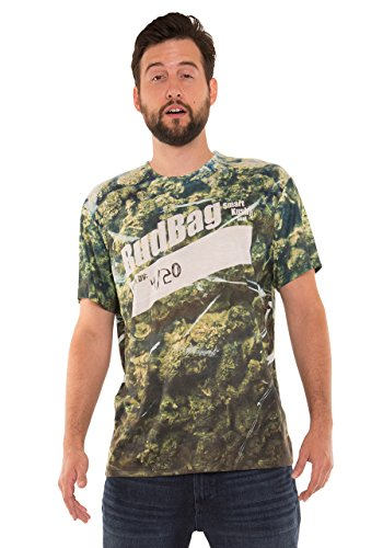 Faux Real unisex adult 3d Photo-realistic Short Sleeve T-shirt Shirt, Bag of Pot, Large US