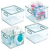 mDesign 4er-Set Kinderzimmer Organizer – quadratische Sortierbox mit praktischen Griffen – BPA-freier Kunststoffbehälter für Spielzeug, Windeln, Stofftiere & Co. – hellblau