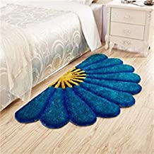 Ruhal Fabb Half Round Blue Color Sunflower Area Rug Mats for Bedroom Living Room Round Mats Computer Chair Mat