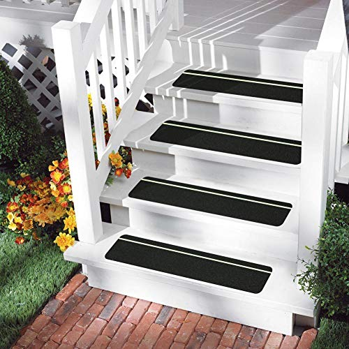 "Non-Slip Stair Tape - Indoor & Outdoor Waterproof Safety Steps, 6"" x 24"", 80 Grit, 15 Pack (Black w/Glow Strip)"