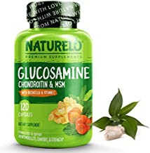 NATURELO Glucosamine Chondroitin MSM with Boswellia and Vitamin C - Supplement for Joint Comfort, Mobility, and Strength - 120 Capsules