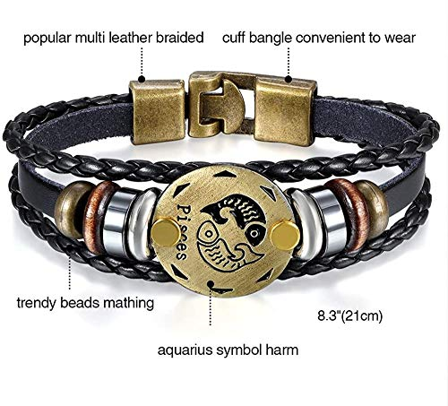 MNMXW Mens Womens Punk Multi-Layer 12 Zodiac Signs Constellation Astrology Braided Leather Cuff Bracelet Black-pisces