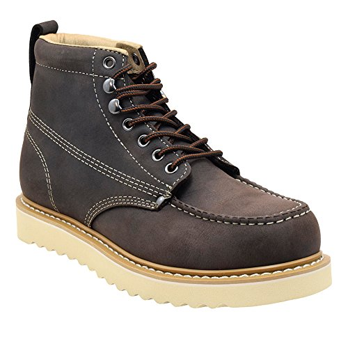 Golden Fox Oil Full Grain Leather Moc Toe Light Weight Work Boots for Men 11 D(M) US, Dark Brown