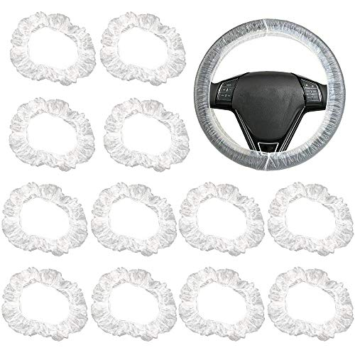 FLOFIA 100pcs Einweg Lenkradabdeckung Kunststoff Lenkradhülle Transparent Lenkradbezug Plastik Lenkradschutz für Auto Universal Anti Staub Wasserdicht